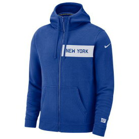 ナイキ メンズ パーカー NFL フルジップ フリース クラブ フーディ ニュー ヨーク ジャイアンツ Nike Men's NFL Full-Zip Fleece Club Hoodie ニューヨーク ジャイアンツ Rush Blue