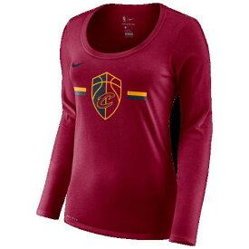 (取寄)ナイキ レディース NBA ロングスリーブ ロゴ ストライプ Tシャツ クリーブランド キャバリアーズ Nike Women's NBA L/S Logo Stripe T-Shirt Team Red