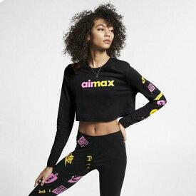 (取寄)ナイキ レディース エア マックス ロゴ ロング スリーブ トップ Nike Men's Air Max Logo Long Sleeve Top Black Pink Rise