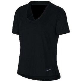 (取寄)ナイキ レディース ミラー ブリーズ ショート スリーブ トップ Nike Women's Miler Breathe Short Sleeve Top Black Reflective Silver