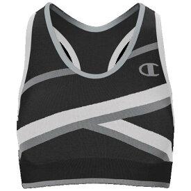 (取寄)チャンピオン レディース インフィニティ ストライプ レーサーバック ブラ Champion Women's Infinity Stripe Racerback Bra Black Grey White
