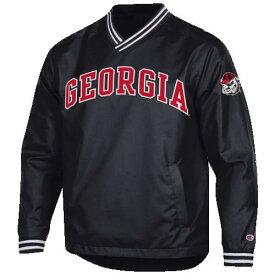 (取寄)チャンピオン メンズ カレッジ スカウト プルオーバー ジャケット ジョージア ブルドッグス Champion Men's College Scout Pullover Jacket ジョージア ブルドッグス Black Red