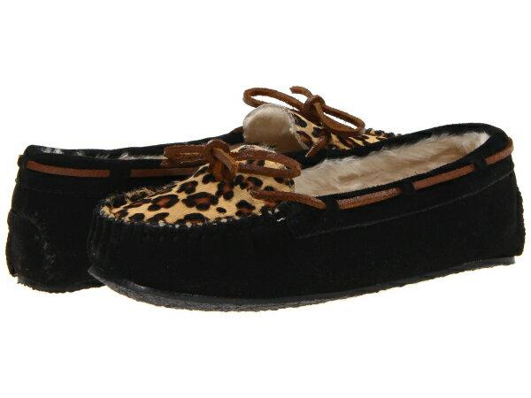 (取寄)ミネトンカ レディース レパード キャリー スリッパ Minnetonka Women Leopard Cally Slipper Black Suede