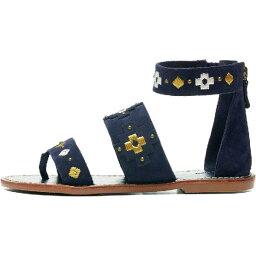 (索取)sorudosuredisuemburoidadosuribandeddosandaru Soludos Women Embroidered Three Banded Sandal Midni..