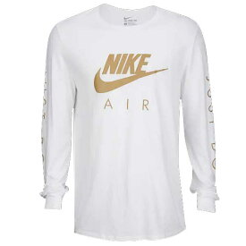 NIKE ナイキ メンズ 長袖Tシャツ ホワイト ゴールド グラフィック ロングスリーブ Tシャツ Nike Graphic Long Sleeve T-Shirt