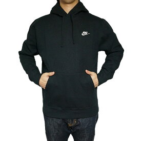NIKE パーカー ナイキ メンズ 裏起毛 スウェットパーカー クラブ プルオーバー フーディ ブラック 黒 Nike Men's Club Pullover Hoodie Black White