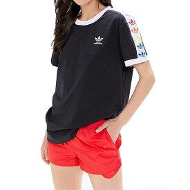 アディダス オリジナルス 半袖Tシャツ レディース トレフォイル プライド テープド Tシャツ ブラック adidas Originals Trefoil Pride Taped T-Shirt