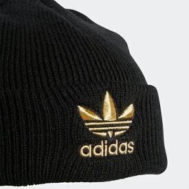 b816f1780f6 アディダス ニットキャップ トレフォイル ビーニー ニット帽 黒 ブラック ゴールド adidas Originals TREFOIL BEANIE  あす楽