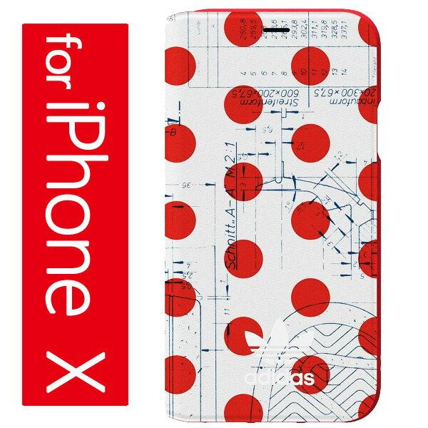 アディダス オリジナルス iPhoneX ケース 手帳型 水玉 ホワイト 赤 アイフォン テン ケース adidas originals 70'S Booklet iPhone X Case【コンビニ受取対応商品】