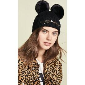 ケイトスペード ニットキャップ エンベリッシュ キャット ビーニー ハット ブラック 黒 Kate Spade New York Embellished Cat Beanie Hat Black
