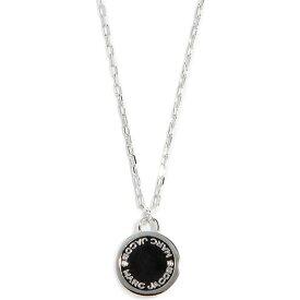 マークジェイコブス レディース ネックレス ブランド ロゴディスク ペンダント シルバー ブラック Marc Jacobs Logo Disc Pendant Necklace Black Argento