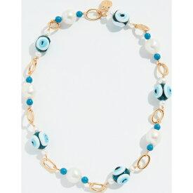 (取寄)トリーバーチ グラス パール アンド イーブル アイ ショット ネックレス Tory Burch Glass Pearl and Evil Eye Short Necklace Brass Blue