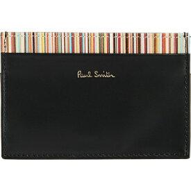 【クーポンで最大2000円OFF】(取寄)ポールスミス インテリア マルチ ストライプ カード ケース Paul Smith Interior Multi Stripe Card Case Black