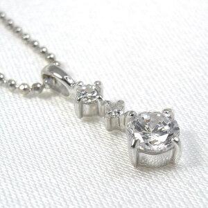 キュービックジルコニア ネックレス 4月 誕生石 シルバー925 スリーストーンペンダント 送料無料 シンプル ダイヤモンド メンズ レディース ホワイトデー お返し 可愛い おしゃれ プレゼント