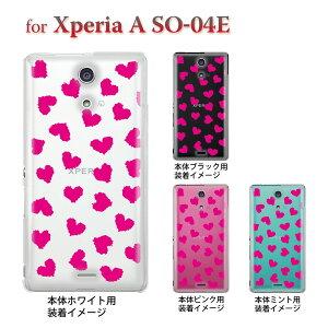 【Xperia A SO-04E】【ケース】【カバー】【スマホケース】【クリアケース】【チェック・ボーダー・ドット】【ハート】 22-so04e-ca0019