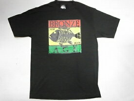 BRONZE AGE ブロンズエイジ RASTA ラスタカラー スクエアフィッシュ Tシャツ 黒 ブラック