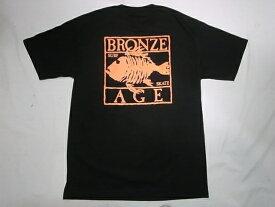 BRONZE AGE ブロンズエイジ ネオンカラーシリーズ スクエア フィッシュ Tシャツ 黒xオレンジ