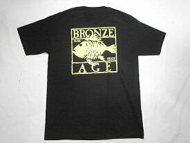 BRONZE AGE ブロンズエイジ ネオンカラーシリーズ スクエア フィッシュ Tシャツ 黒xイエロー