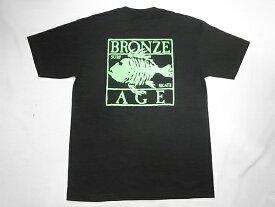 BRONZE AGE ブロンズエイジ ネオンカラーシリーズ スクエア フィッシュ Tシャツ 黒xグリーン