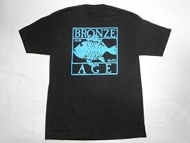 BRONZE AGE ブロンズエイジ ネオンカラーシリーズ スクエア フィッシュ Tシャツ 黒xターコイズブルー