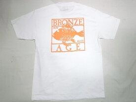 BRONZE AGE ブロンズエイジ ネオンカラーシリーズ スクエア フィッシュ Tシャツ 白xオレンジ