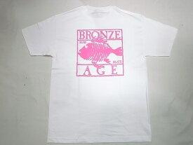 BRONZE AGE ブロンズエイジ ネオンカラーシリーズ スクエア フィッシュ Tシャツ 白xピンク