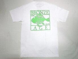 BRONZE AGE ブロンズエイジ ネオンカラーシリーズ スクエア フィッシュ Tシャツ 白xグリーン