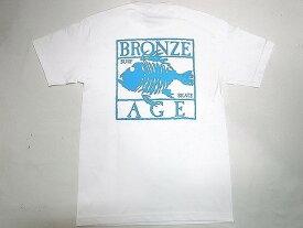 BRONZE AGE ブロンズエイジ ネオンカラーシリーズ スクエア フィッシュ Tシャツ 白xターコイズブルー