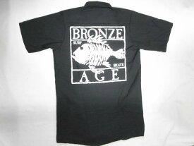 BRONZE AGE ブロンズエイジ SQUARE スクエアフィッシュロゴプリント ワークシャツ 黒 ブラック