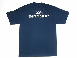 100%SKATEBOARDER logo T-shirt dark blue navy JAY ADAMS Jay Adams