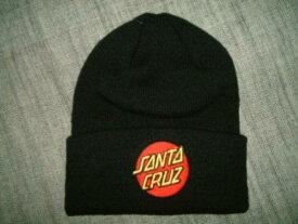 SANTACRUZ サンタクルーズ CLASSIC DOT LONG SHOREMAN ドットロゴ ビーニー ニットキャップ 黒