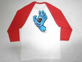 JONNY BEE ジョニービー 別注 SANTA CRUZ サンタクルーズ スクリーミングハンド ラグラン七分袖Tシャツ 白x赤 ホワイトxレッド