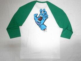 JONNY BEE ジョニービー 別注 SANTA CRUZ サンタクルーズ スクリーミングハンド ラグラン七分袖Tシャツ 白x緑 ホワイトxグリーン