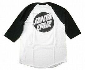 SANTA CRUZ サンタクルーズ OTHER DOT ドットロゴ ラグラン七分袖Tシャツ 白x黒x銀