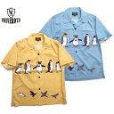 UNIVERD72 アロハシャツ ペンギン柄シャツ ユニバード アロハ メンズ半袖シャツ 40837 ペンギンアロハ
