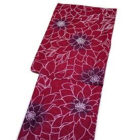 浴衣 レディース レトロ 小粋 高級綿絽(エンジに花柄)