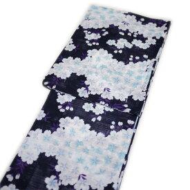 浴衣 レトロ レディース 高級綿絽(黒地にブルー系:桜柄)
