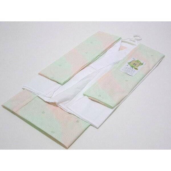 日本製 二部式長襦袢(うそつき グリーン系:小花柄 Sサイズ)半襦袢・裾除け・半衿付・衣紋ぬき付