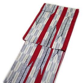 浴衣 レディース レトロ 粋 高級 変り織(レッド 矢絣柄)
