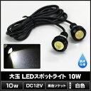 防水 大玉LEDスポットライト(10個) 白色 10W/12V/18mm [黒色ソケット]
