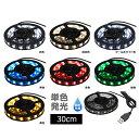 【単色】USB 防水LEDテープライト 1チップ(黒ベース) 30cm DC5V