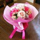 いい夫婦の日ピンクの薔薇のデコールブーケ