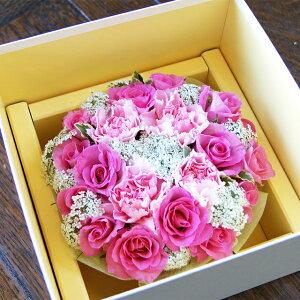 母の日 カーネーション プレゼント フラワーケーキ ギフト 【 ピンク 薔薇 カーネーションフラワーケーキ】 フラワーギフト 花 送料無料 母 鉢植え 鉢 花 ギフトセット ハーバリウム 花束 ボ
