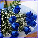 ブルーローズ青いバラ 送料無料 【 10本とカスミ草 】 青い薔薇 青薔薇 サントリー 苗 ブーケ 花 花束 生花 意味 値段…