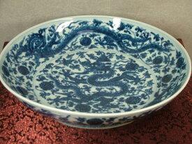 ■龍香堂■☆【中古美品】中国骨董品「染付昇龍戯玉大皿」