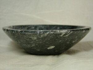 ■龍香堂■☆珍品!直角貝化石入り石碗(123mm)