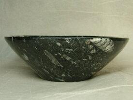 ■龍香堂■☆珍品!アンモナイト化石入り石碗(125mm)t2