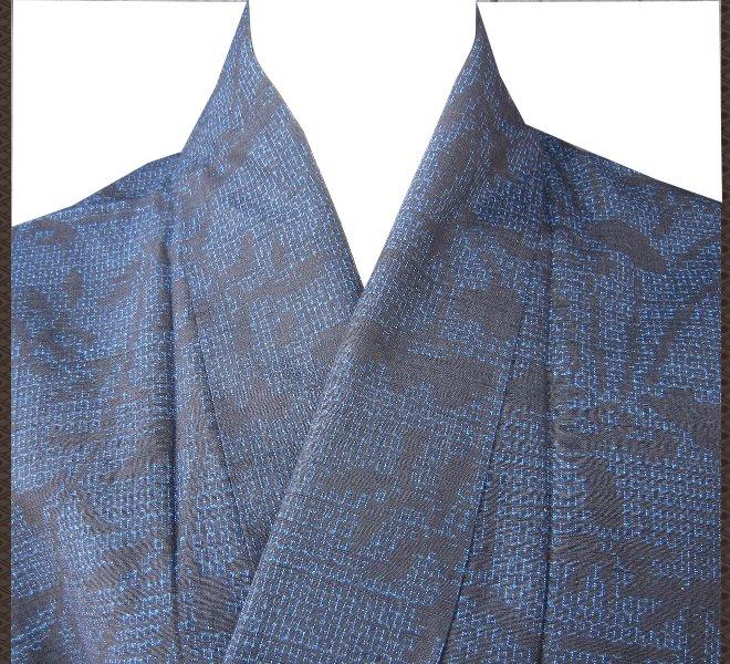 着物 紬 濃紺 竹柄 正絹 未使用 リサイクル着物 中古着物