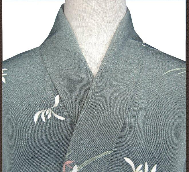 着物 小紋 青色 みどり色 花柄 正絹 未使用 リサイクル着物 中古着物