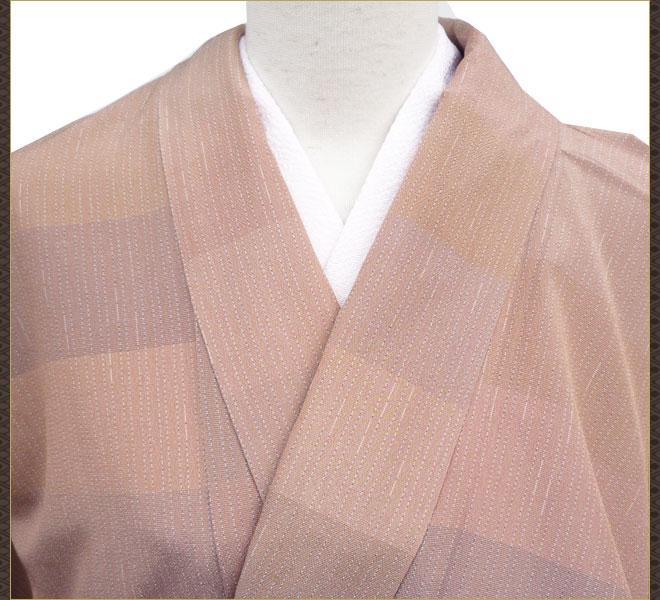 着物 単衣 塩沢 薄茶色 正絹 質屋出店 リサイクル着物 中古着物 アンティーク着物